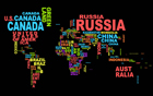 World Map Contry Names Black